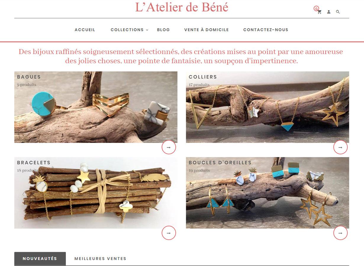 Réalisation d'un site e-commerce PrestaShop «L'atelier de Béné» de vente de bijoux